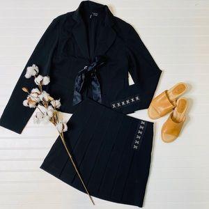 Kenzie Two Piece Suit Blazer Pleat Skirt